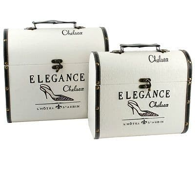 DECORATIVE STORAGE CASES ELEGANCE CHELSEA DESIGN LARGE SET OF 2