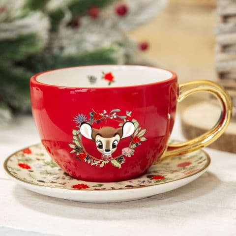 Disney Bambi Enchanted Forest Christmas Teacup and Saucer Gift