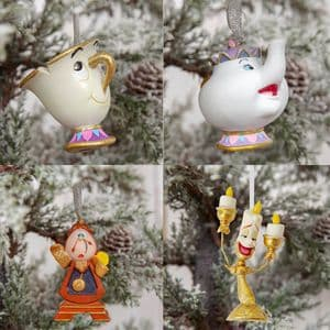 Disney Beauty and the Beast Christmas Tree Decorations Set Of 4