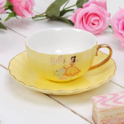 Disney Belle Pastel Yellow Teacup and Saucer Luxury Collectable Gift