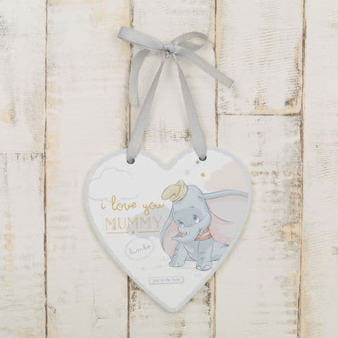 Disney Dumbo Mummy I Love You Heart Shaped Hanging Plaque