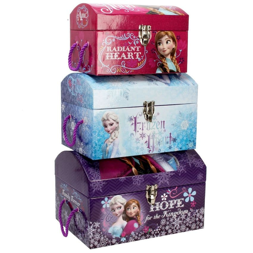Disney Frozen Toy Boxes - Set Of 3 Trunks - Bedroom Decor Accessories