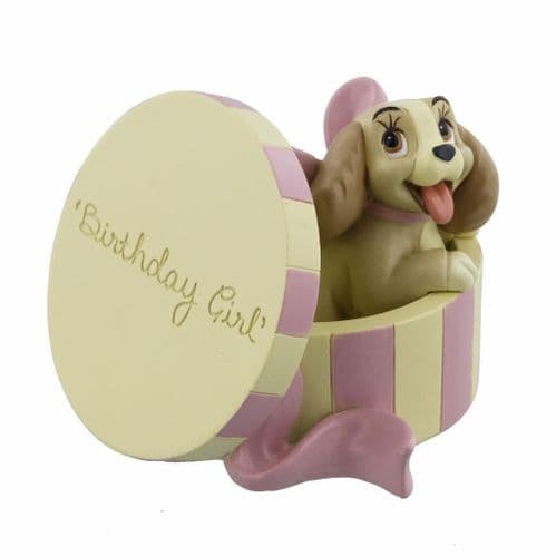 Disney Magical Moments Colletable Figure Lady and The Tramp 'Birthday Girl' Lady in Hat Box Gift