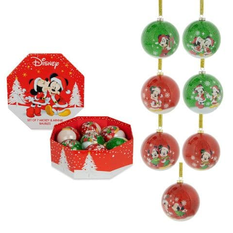 Disney Mickey & Minnie Set Of 7 Red and Green Christmas Baubles