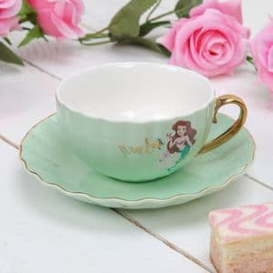 Disney Pale Green Ariel Teacup and Saucer Collectable Gift Little Mermaid