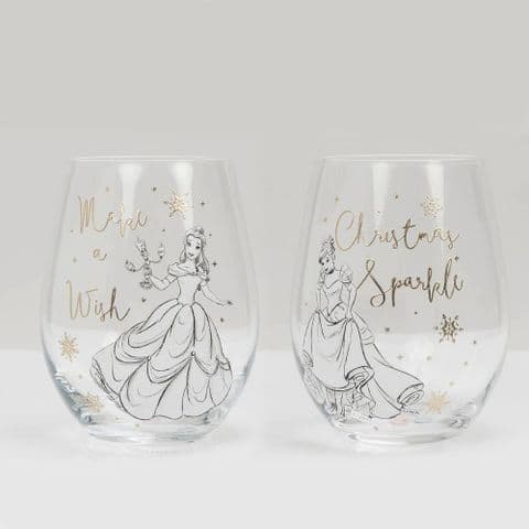 Disney Set of 2 Stemless Wine Glasses Cinderella & Belle In Giftbox