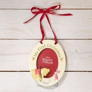 Disney Winnie The Pooh Babys 1st Christmas Hanging Photo Frame Bauble