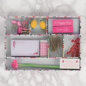 Ditsy Girl Essential Stationary Set - Vintage Boutique Pink Stationary Essentials in Tray Gift