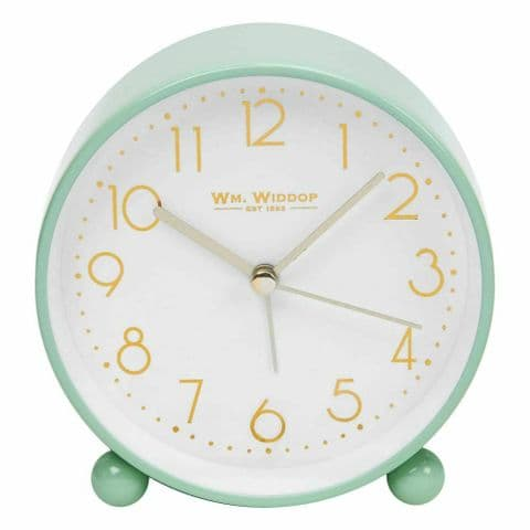 Duck Egg Pale Green Round Alarm Clock With Gold Dial by William Widdop
