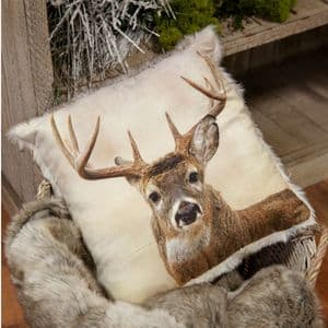 Faux Fur Reindeer Stag Cushion Winter Woodland Scatter Cushion