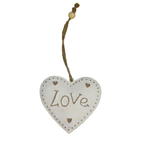 FREE Heart Shape 'Love' Hanging Shabby Chic Metal Decoration - Free Gift From Posh Bananas