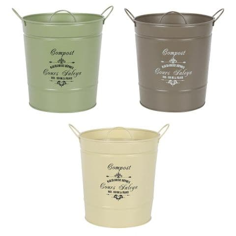 French Vintage Style Metal Composting Bucket