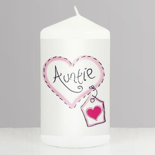 Gift Idea For Auntie - Heart Stitch Candle Gift