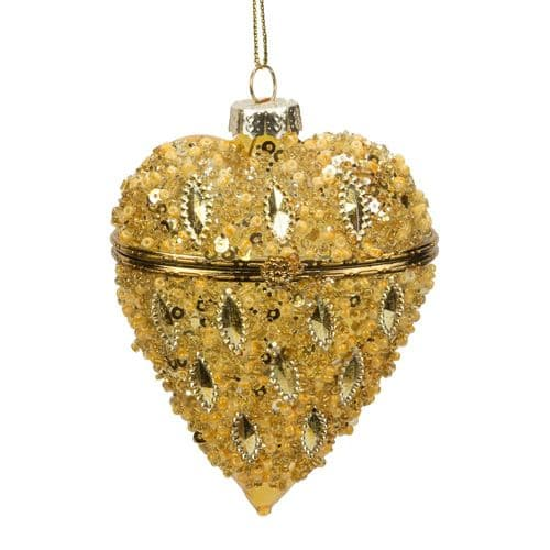 Gold Glass Embellised Trinket Bauble Christmas Tree Ornament
