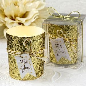 Gold Glitter Beaded Candle Holder Table Gift Favor For Party Guests