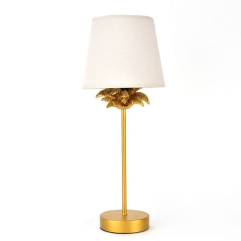 Gold Palm Tree Table Lamp With Pink Satin Shade