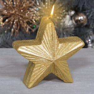 Gold Star Candle Christmas Decoration