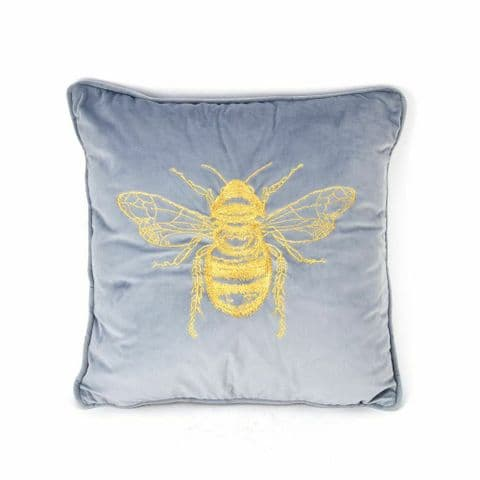Grey Velvet Cushion With Embroidered Gold Bee Design