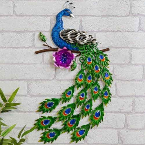 Handmade Peacock Metal Wall Art With Crystal Embellished Tail Sculpture For Home & Garden