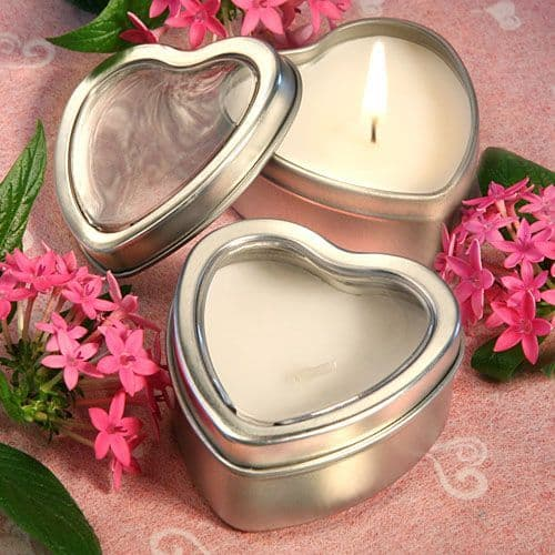 Heart Shape Scented Candle Tin Table gift favor