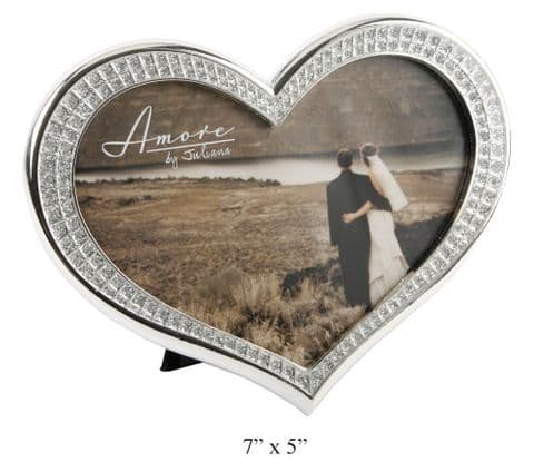 Heart Shaped Diamante Silver Plated Photo Frame Wedding Gift
