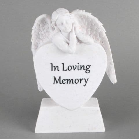 In Loving Memory Angel Heart Memorial Stone Grave Garden Ornament