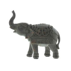 Indian Elephant Ornament - Small Hand Painted Elephant sculpture with trunk up