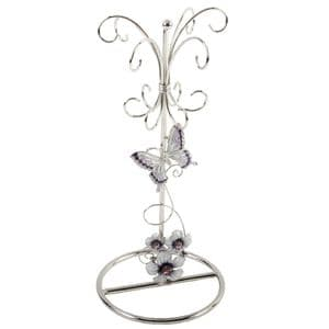 Jewellery Stand With Purple Butterflies -Silver Wire Design Butterfly Jewellery Stand