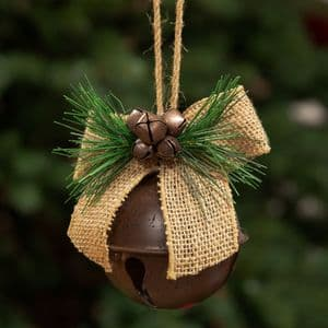 Jingle Bell Hanging Christmas Tree Decoration With Jute Bow