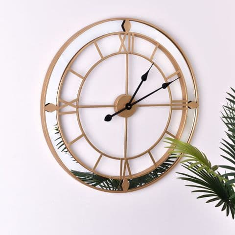 Large Contemporary Luxury Gold Skeleton Style Wall Clock With Mirror Edge 60cm