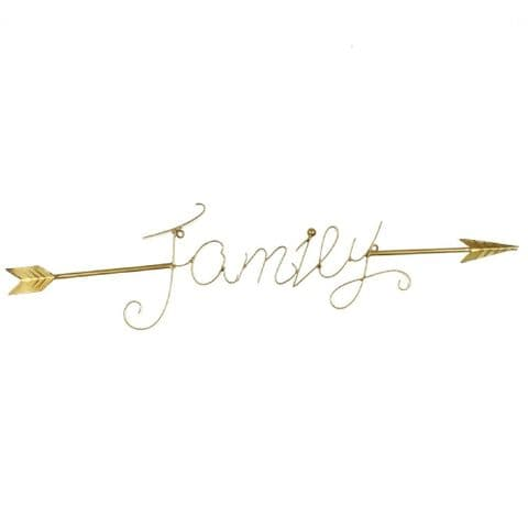 Large Gold Finish Scripted Word 'Family' Wall Art Sculpture Home Decoration 76cm