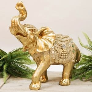 Large Gold Lucky Elephant Ornament  Good Fortune Home Decor