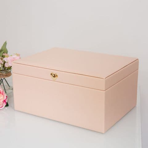 Large Pale Blush Pink Jewellery Box With Rose Gold Heart Clasp Gift For Ladies