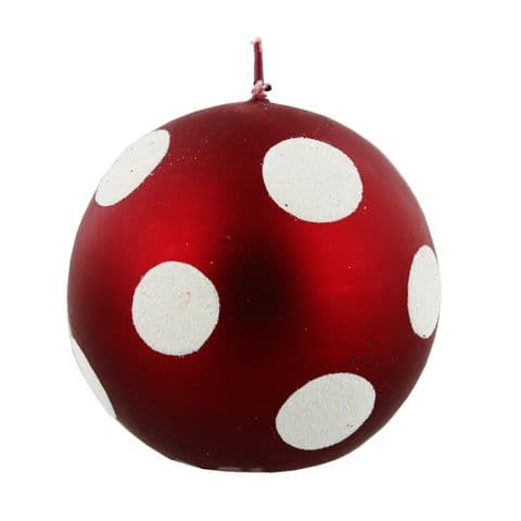 Large Red Spotted Bauble Christmas Candle - Luxury Christmas Candle Red and White Spot