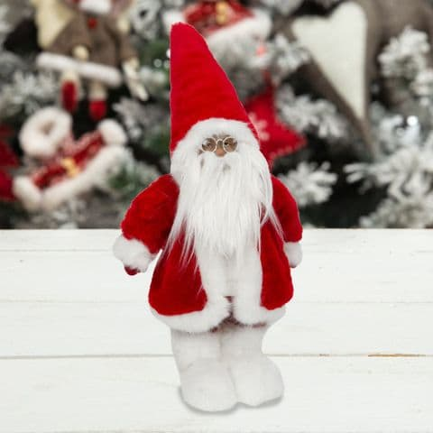 Large Standing Santa Clause in Red and White Fur Christmas Onament Home Decor