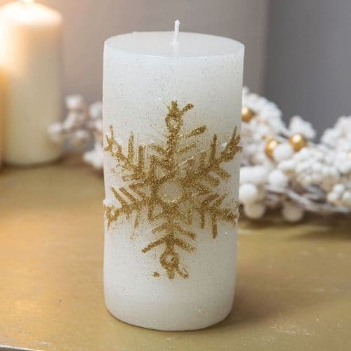 Large White & Gold Pillar Candle With Glitter Snowflake Embellishment Extra Special Christmas Dinner