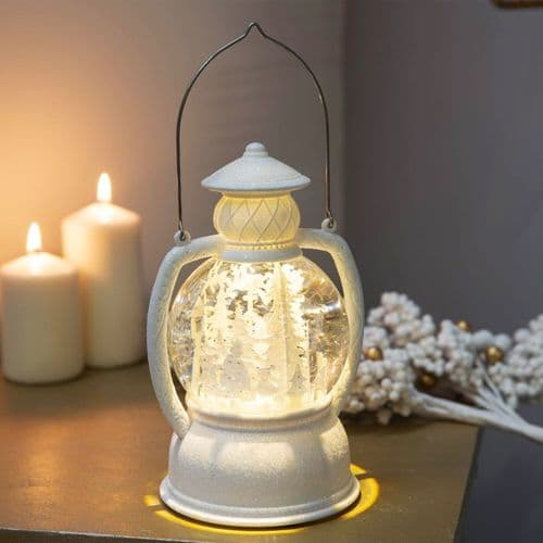 LED White Glitter Snow Globe Lantern Christmas Decoration Ornament