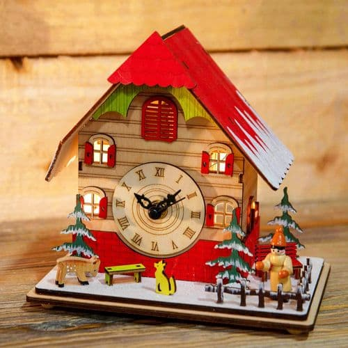 Light Up Christmas Clock Wooden Decoration Ornament
