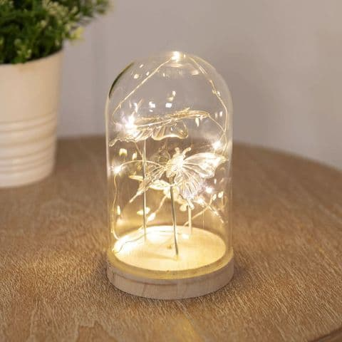 Light Up Glass Butterfly Dome Home Ornament - Silver Butterfly LED Light