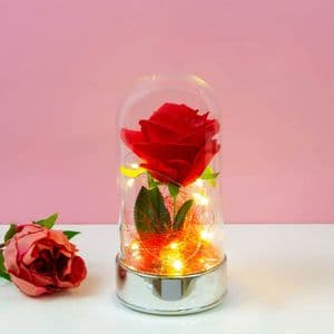 Light Up Red Rose In Glass Dome Jar Valentines, Wedding & Anniversary Decoration Gift