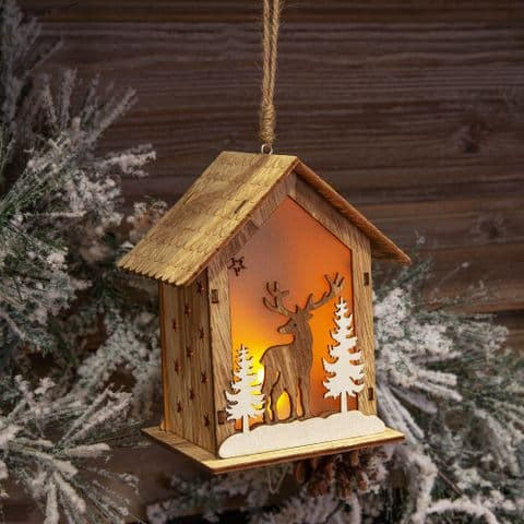 Light Up Wooden House Hanging Decoration Christmas Ornament