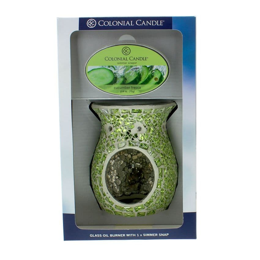 Lime Green Mosaic Glass Melt Warmer and Colonial Candle Cucumber Fresca Simmer Snap Gift Set
