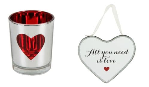 Love Mirror Heart Shape Plaque and Candle Holder Gift