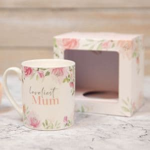Loveliest Mum New Bone China Floral Mug in Gift Box