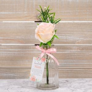 Loveliest Mum Pink Rose In Glass Jar Mothers Day Gift Birthday Gift
