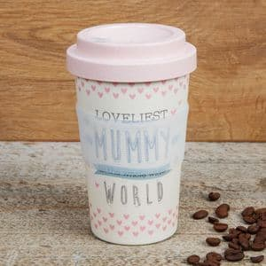 Loveliest Mummy Pink Bamboo Travel Mug Gift For Mothers Day and Birthday