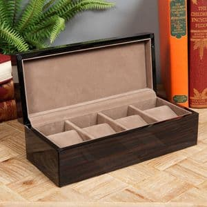 Luxury Gloss Finish Wooden Watch Box With Lock Holds 4 Watches