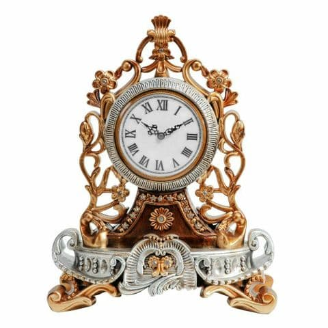 Luxury Ornate French Antique Style Mantel Clock With Crystal Embellishment