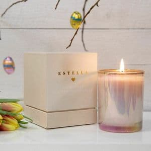 Luxury Scented Candle Blush Pink & Gold Design Lily Blossom Fragrance
