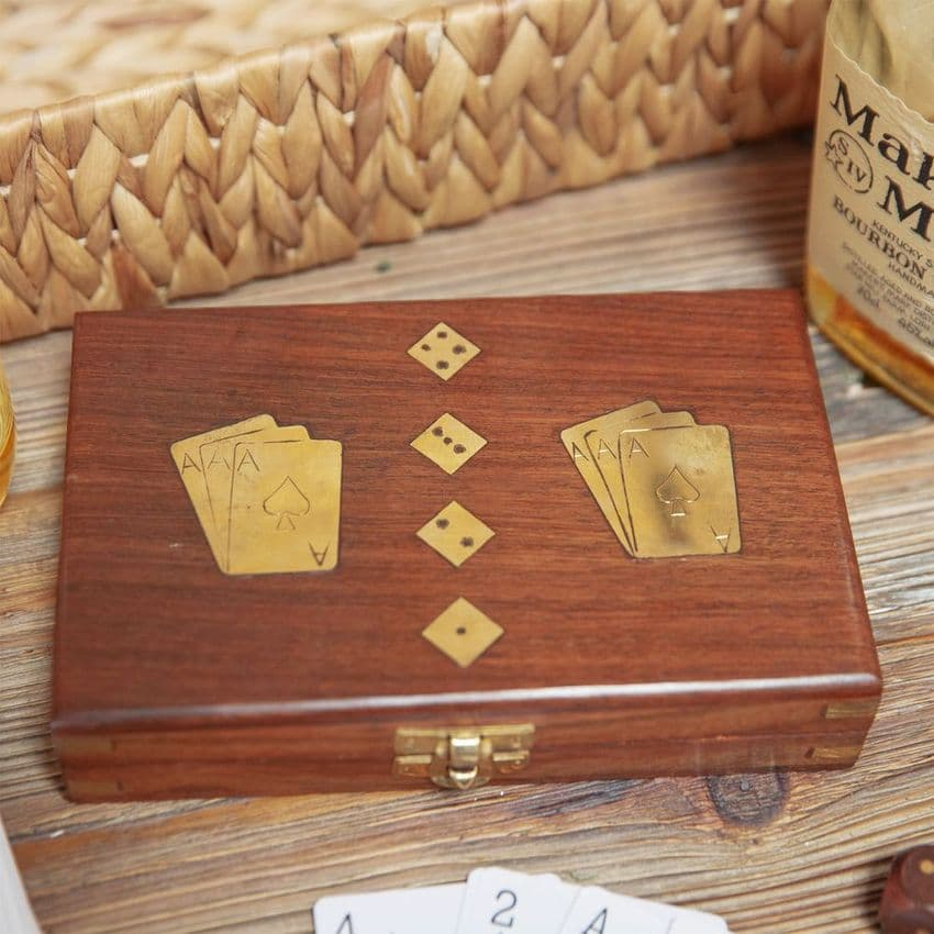 Luxury Wooden Card & Dice Gift Set - Rosewood Box and Dice with Brass Inlay.  Retro quality gift for men.